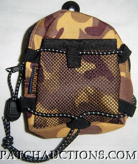 Backpack Style Cell Phone Bag Holder Coin Purse Brown & Gold Camoflauge #0167