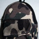 Backpack Style Cell Phone Bag Holder Coin Purse Green & Cream Brown Camoflauge #0154