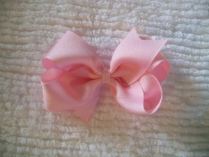 Baby Pink Grosgrain Hair Bow