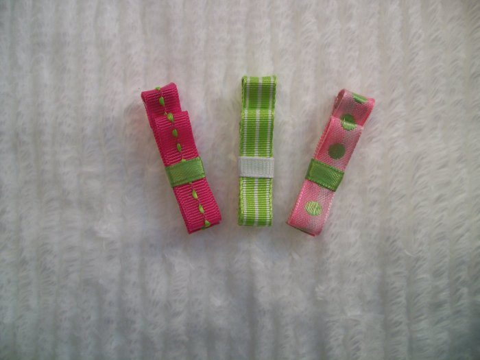 Pink and Green Clippie Trio