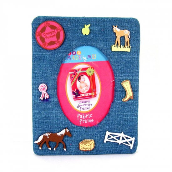 Blue-jean picture frame with horses