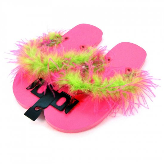 Hot pink and lime green feathered flip-flops