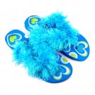 Turquoise feathered flip-flops.