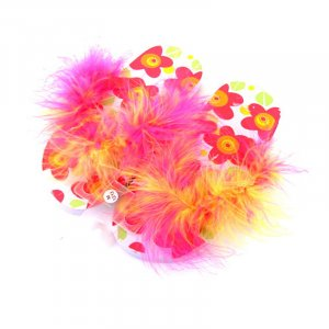 Pink and yellow feathered flip-flops.