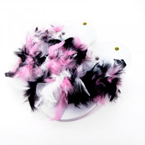 Pink, black, and white feathered flip-flops.