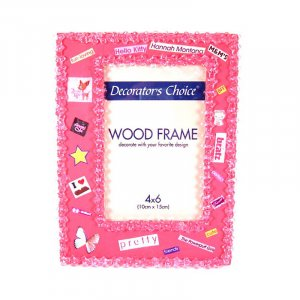 Pink beaded picture frame.