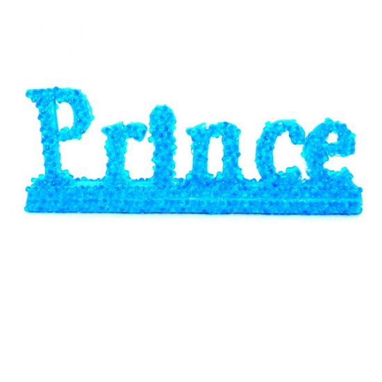"Blue beaded wood ""Prince"" sign."