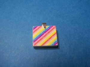 Recycled scrabble Pendant  Rainbow