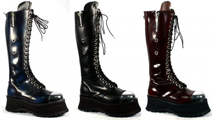 "Pole Climber"" - Men's Chrome Toe Leather Platform Knee High Boots"