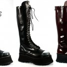 "Pole Climber"" - Men's Chrome Toe Leather Platform Knee High Boots"