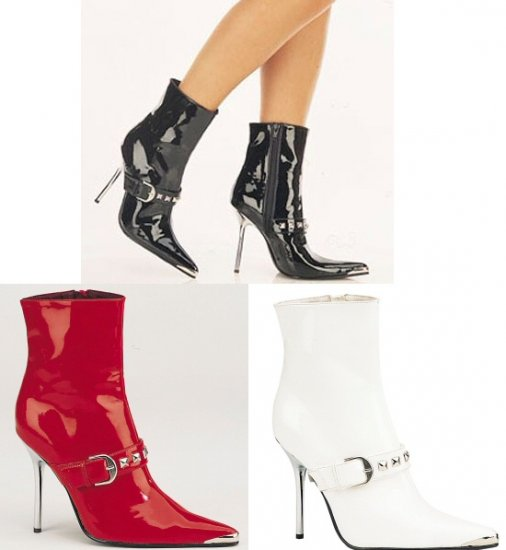 "Heat"" - Women's Metal Toe & Heel Ankle Boot with Studded Strap Detail"