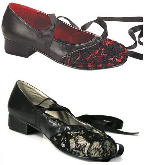 Women's Pleated Shoe with Lace and Ribbon Ties