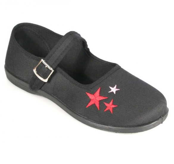 """""""Sassie"""" - Women's Canvas Mary Jane Style Shoes with Star Design"""