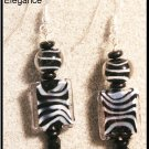 """Safari"" Fun Zebra stripped glass beads earrings"