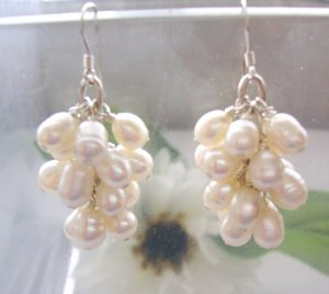 """Baby Grand"" Freshwater pearls earrings,sterling silver"