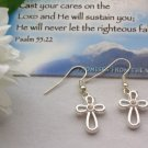 """JOY""  Silver Cross earrings, with inset crystal"