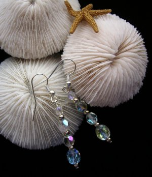 """Purity""  AB finish Czech glass earrings"