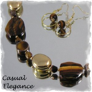 """""""Golden Tiger"""" Tiger's eye necklace and earrings"""