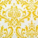 Corn Yellow White Slub Damask Home Decorating Fabric