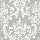 Light Gray White Damask Home Decorating Fabric