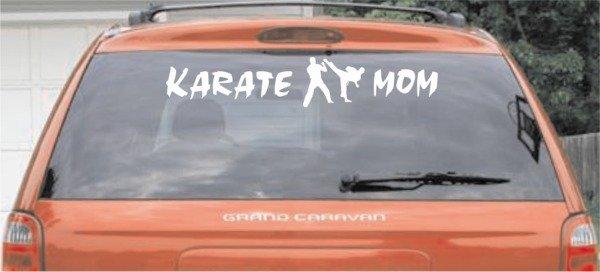 Karate Mom - White Large Window Decal
