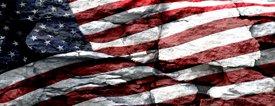 American Flag 1 w/ Rock - Car Window Perf