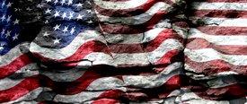 American Flag 2 w/ Rock - Car Window Perf