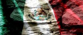 Mexican Flag w/ Rock - Car Window Perf