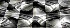 Racing Flag w/ Chrome - Car Window Perf