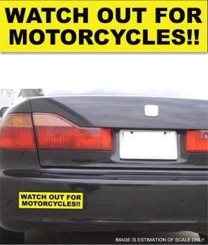 Watch Out For Motorcycles - Yellow Bumper Sticker