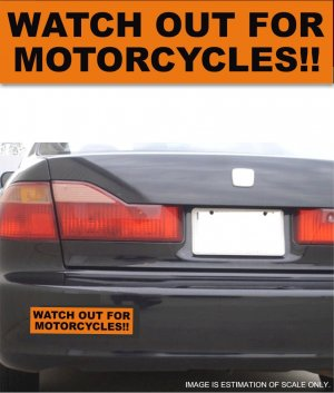Watch Out For Motorcycles - Orange Bumper Sticker