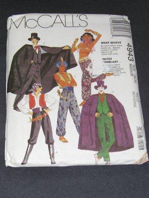 McCalls 4943 Pattern Buccaneer, Genie, Harem Girl, Dracula, Joker