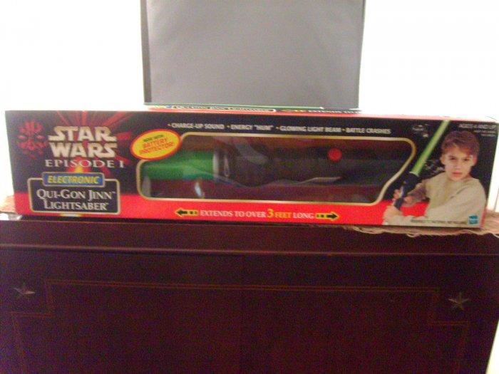Star Wars Qui Gon Jinn The Phantom Menace Electronic Green Lightsaber MIB