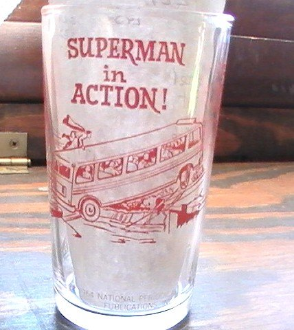Superman in Action Super Hero 1964 Small NPP Glass Red & Grey See others!