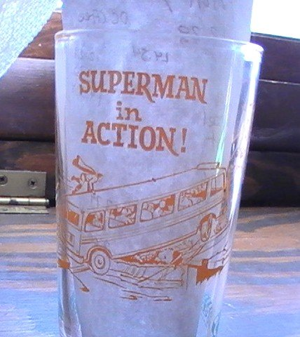 Superman in Action Super Hero 1964 Small NPP Glass Orange & Blue See others!