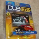 Jada DubCity DUB CITY Old Skool 1957 Die Cast Red Black Flames Chevy Suburban Car Truck