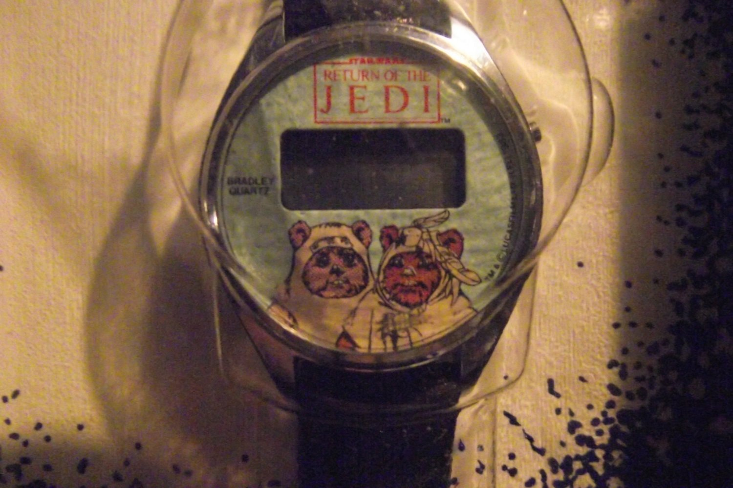 Star Wars ROTJ Return of the Jedi Ewoks Lcd watch in Bradley Box