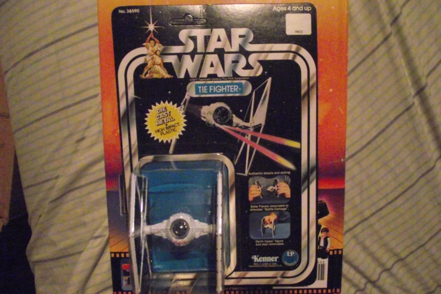 Vintage Star Wars Die Cast White Tie Fighter Rare Price Box Version Carded Ship