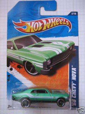 Hotwheels Hot wheels 68 1968 Green Chevy Nova Die Cast Car