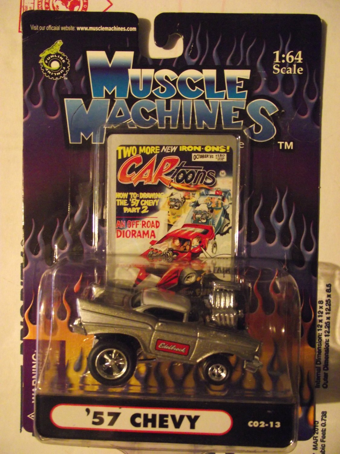 Muscle Machines 57 1957 Grey Jacked Chevy Monster Motor Hotwheels Crusher!