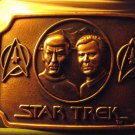 Star Trek Captain Kirk Spock Brass Colored Belt Buckle Great Condition!