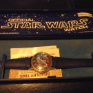 Star Wars R2D2 C3PO Adult Gold tone Bradley Windup Watch W/Blue Display Case