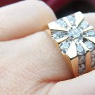 Mens 2 CT Starburst Round Multi Diamond Ring 14k Y Gold Sunburst Sunray Pattern