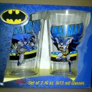 Batman DC Comics Set of 2 Glass Tumblers VHTF Super Hero Darkknight Auction