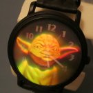Star Wars Yoda 3D Watch HTF Rare Metal Case Leather Band Version! NW