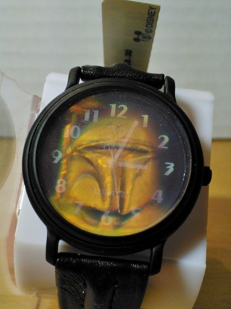 Star Wars Boba Fett Rare Black Metal Case Leather Version 3D Arts Hologram VARIANT Watch HTF MINT