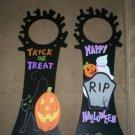 *~SALE!**~2 New Halloween Door Knob Signs-wood