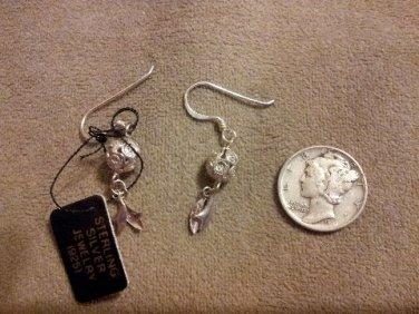 *~New Sterling Silver floral dangle earrings