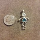 *~Vintage Sterling Silver Blue Birthstone girl Charm/pendant