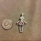 *~Vintage Sterling Silver Pink October Birthstone girl Charm/pendant